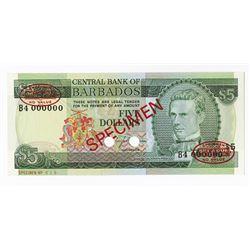 Central Bank of Barbados, ND (1973) Specimen Banknote.