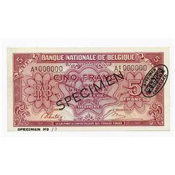 Banque Natioinale de Belgique, 1943 (1944) Specimen Banknote.