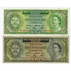 Government of Belize, 1974 Issue Banknote Pair.