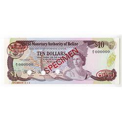Monetary Authority of Belize, 1980 Specimen Banknote.