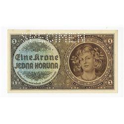Protektorat Bšhmen und MŠhren, ND (1940) Specimen Banknote.