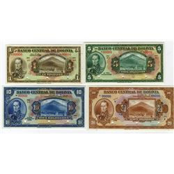 Banco Central De Bolivia, 1962 Lot of 4 Specimen Banknotes.