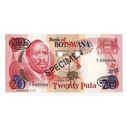 Bank of Botswana, ND (1982) Specimen Banknote.