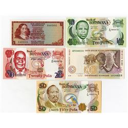 Bank of Botswana & South African Reserve Bank. Quintet of Issued Notes.