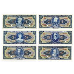 Republica dos Estados Unidos do Brasil, 1940s, Group of 6 SPECIMEN Notes.