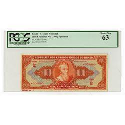 Republica Dos Estados Unidos Do Brasil, ND (1949) Specimen Banknote.