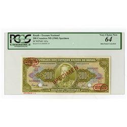 Republica Dos Estados Unidos Do Brasil, ND (1960) Specimen Banknote.