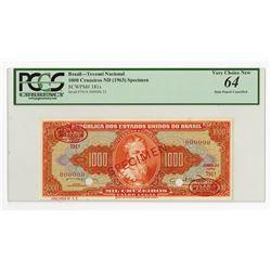 Republica Dos Estados Unidos Do Brasil, ND (1963) Specimen Banknote.