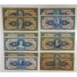 Thesouro Nacional. 1940s-1970s. Group of 19 Issued Notes.