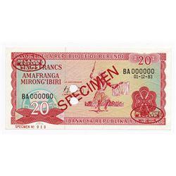 Banque de la Republique du Burundi, 1983 Specimen Banknote.