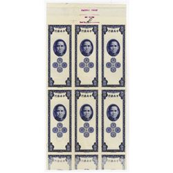 Central Bank of China, 1948 Uncut Banknote Imprint Proof Block of 6 Notes.