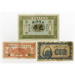 China Private and Local Banknote Lot of 3 Notes ca. 1920-40's.