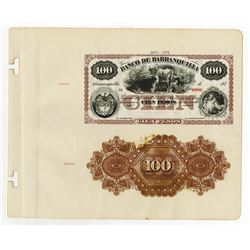 Banco De Barranquilla, 187x (1873) Proof Face & Back Banknote.