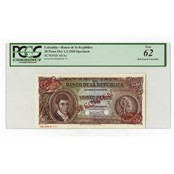 Banco De La Republica, 1960 Specimen Banknote.