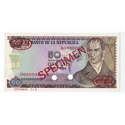 Banco de la Republica, 1970 Specimen Banknote.