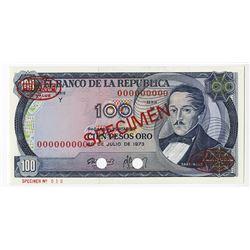 Banco de la Republica, 1973 Specimen Banknote.