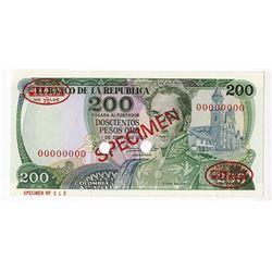 Banco de la Republica, 1980 Specimen Banknote.