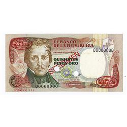 Banco de la Republica, 1981 Specimen Banknote.