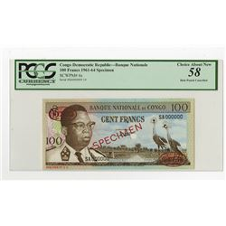 Banque Nationale Du Congo, ND (1961-64) Specimen Banknote.