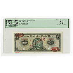 Banco Central de Costa Rica, 1961-64 Specimen Banknote.