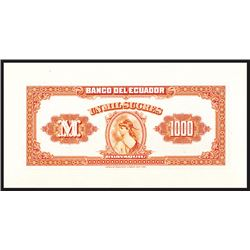 Banco Del Ecuador, ND 1926 Back Proof Banknote.