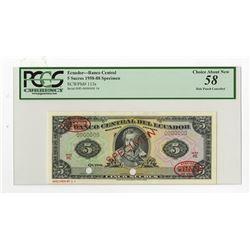 Banco Central del Ecuador, 1958-88 Specimen Banknote.