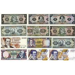 Banco Central del Ecuador. 1966-1999. Dozen of Issued Notes.