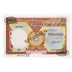 Institut d'Emissio des etats du Cambodge du Laos et du Vietnam, ND (1953) Specimen Banknote.
