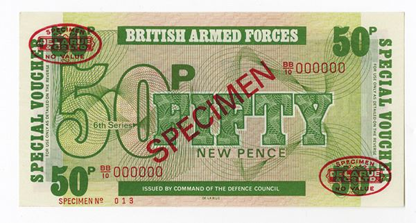 50 New Pence UNC 10 1972 Set of 3 Notes: 5 British Armed Forces UK 6th Ser