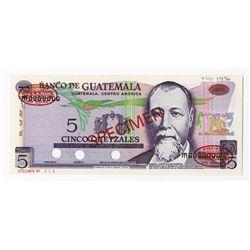 Banco de Guatemala, 1974 Specimen Banknote.
