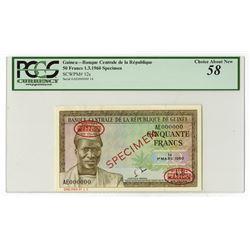 Banque Centrale de la Republique de la Guinee, 1960 Specimen Banknote.