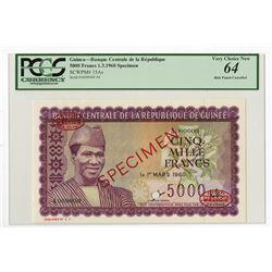 Banque Centrale de la Republique de la Guinee, 1960 Specimen Banknote (Never Issued).