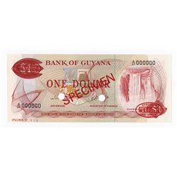 Bank of Guyana, ND (1966-1992) Specimen Banknote.