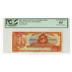 Banque Nationale De La Republique D'Haiti, L.1919 (ca.1967) Specimen Banknote.