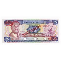 Banque Nationale de la Republique d'Haiti, L.1973 Specimen Banknote.