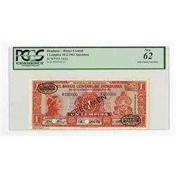 Banco Central De Honduras 1961 Specimen Banknote.