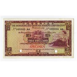 Hongkong and Shanghai Banking Corporation, 1959-1960 Specimen Banknote.
