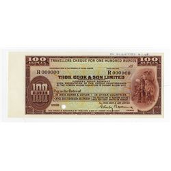 Thos. Cook & Son Ltd, Traveler's Check Proof ca.1930-40s, 100 Rupees Banknote.