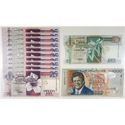 Mauritius and Seychelles, Lot of 12 Replacement Notes.