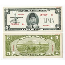 Republik Indonesia Unlisted 1948 Issue Essay Specimen Banknote.