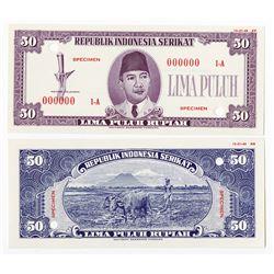 Republik Indonesia Serikat 1948 (1949) Essay Specimen Banknote.