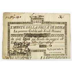 """S. Monte Di Pieta A' Di Roma, 1798 """"Unlisted Date"""" Issue Banknote."""