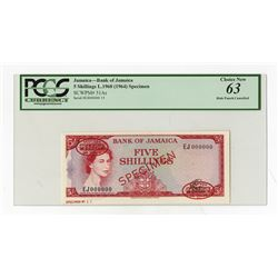 Bank of Jamaica L.1960 (1964) Specimen Banknote.