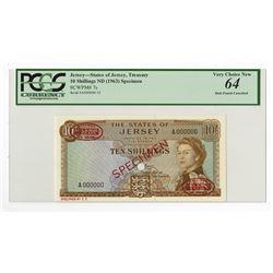 States of Jersey, ND (1963) Specimen Banknote.