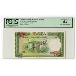 Banque de Syrie et du Liban, 1963 Specimen Banknote.