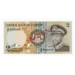 Central Bank of Lesotho, 1981 Specimen Banknote.