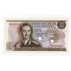 Grand-Duche de Luxembourg, ND (1963) Specimen Banknote.