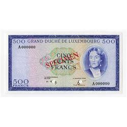 Grand-Duche de Luxembourg, 1967 Specimen Banknote.