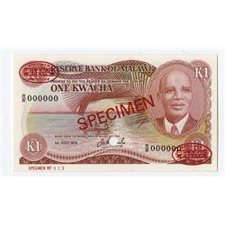 Reserve Bank of Malawi, 1978 Specimen Banknote.