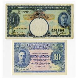 Board of Commissioners of Currency, Malaya, 1941 Banknote Pair.